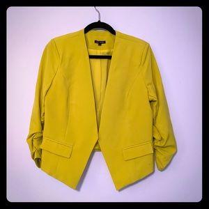 Papaya bright blazer with rouched sleeves sz L